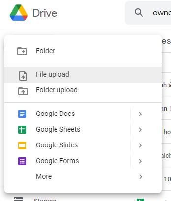 upload file excel lên google sheets