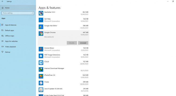 Gỡ bỏ cài đặt phần mềm trên Windows 10